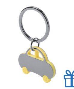 Sleutelhanger auto geel bedrukken