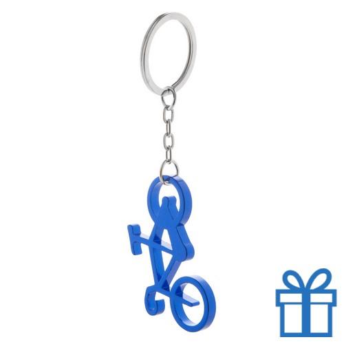 Sleutelhanger fiets flessenopener blauw bedrukken