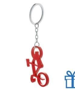 Sleutelhanger fiets flessenopener rood bedrukken