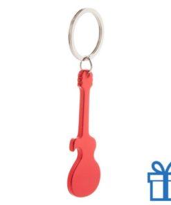 Sleutelhanger gitaar rood bedrukken