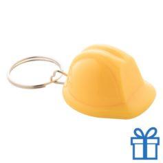Sleutelhanger helm geel bedrukken