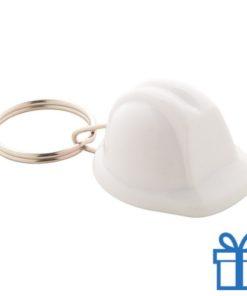 Sleutelhanger helm wit bedrukken