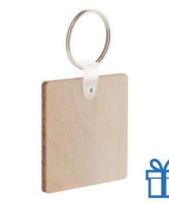 Sleutelhanger hout vierkant bedrukken