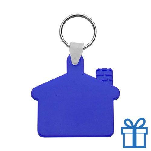 Sleutelhanger huis ring blauw bedrukken