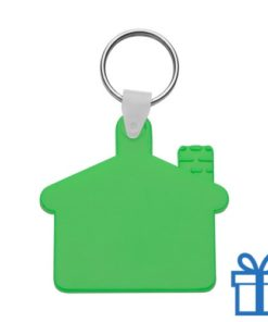Sleutelhanger huis ring groen bedrukken