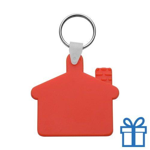Sleutelhanger huis ring rood bedrukken