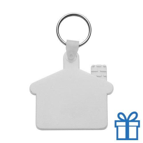 Sleutelhanger huis ring wit bedrukken
