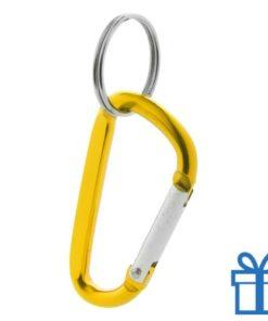 Sleutelhanger karabijnhaakje geel bedrukken