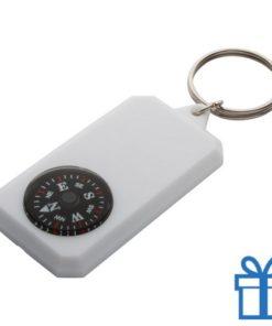 Sleutelhanger kompas wit bedrukken