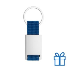 Sleutelhanger metaal polyester blauw bedrukken
