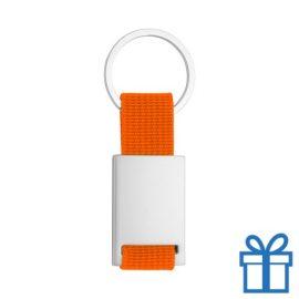 Sleutelhanger metaal polyester oranje bedrukken