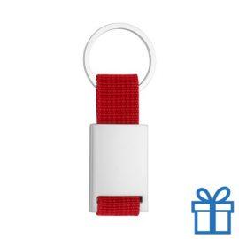 Sleutelhanger metaal polyester rood bedrukken