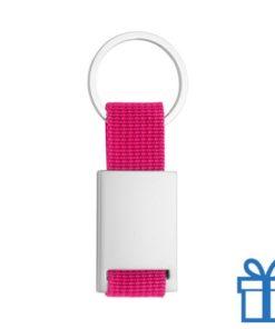 Sleutelhanger metaal polyester roze bedrukken