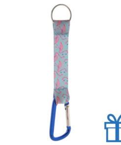 Sleutelhanger op maat karabijnhaak blauw bedrukken