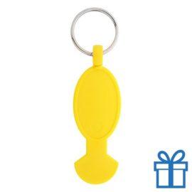 Sleutelhanger plastic opener geel bedrukken