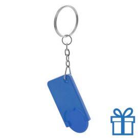 Sleutelhanger plastic winkelmuntje blauw bedrukken