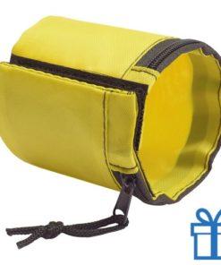 Sport polsband portemonnee geel bedrukken