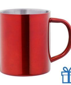 Stainless steel mok rood bedrukken