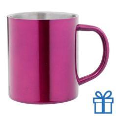 Stainless steel mok roze bedrukken