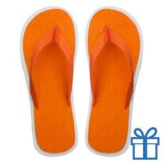 Strand slippers EVA oranje M bedrukken