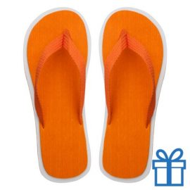Strand slippers EVA oranje V bedrukken