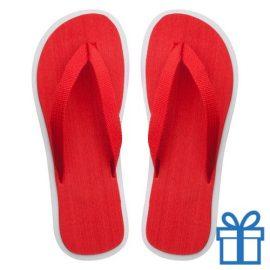 Strand slippers EVA rood V bedrukken