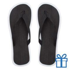 Strand slippers EVA zwart V bedrukken