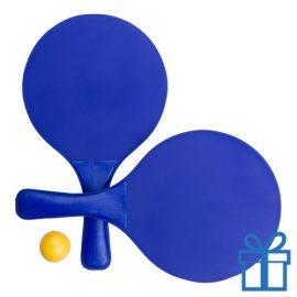 Strand tennis setje blauw bedrukken