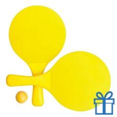 Strand tennis setje geel bedrukken