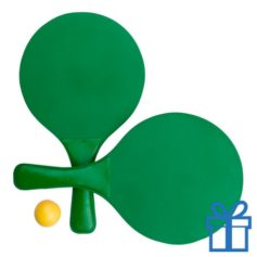 Strand tennis setje groen bedrukken