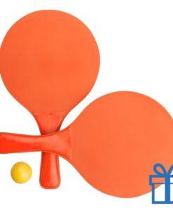 Strand tennis setje oranje bedrukken