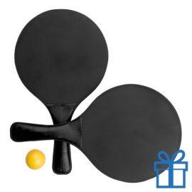 Strand tennis setje zwart bedrukken