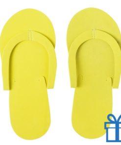 Strandslipper opvouwbaar geel bedrukken