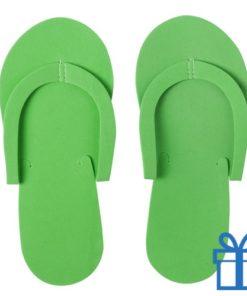 Strandslipper opvouwbaar groen bedrukken