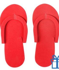 Strandslipper opvouwbaar rood bedrukken