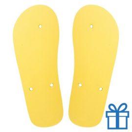 Strandslippers op maat 36-38 geel bedrukken
