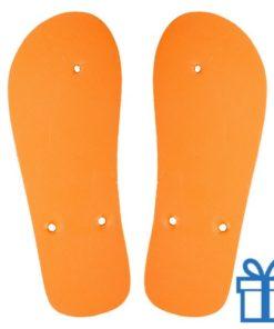 Strandslippers op maat 36-38 oranje bedrukken