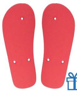Strandslippers op maat 36-38 rood bedrukken