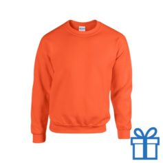 Sweater poly katoen L oranje bedrukken
