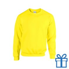 Sweater poly katoen S geel bedrukken