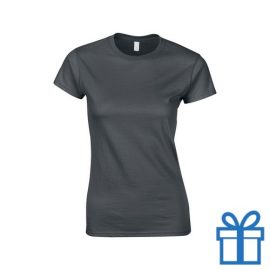 T-shirt dames rond katoen L donkergrijs bedrukken