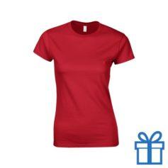 T-shirt dames rond katoen L rood bedrukken