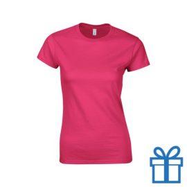 T-shirt dames rond katoen L roze bedrukken