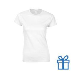 T-shirt dames rond katoen L wit bedrukken