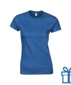T-shirt dames rond katoen M blauw bedrukken