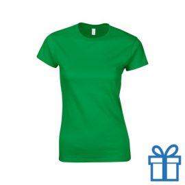 T-shirt dames rond katoen M donkergroen bedrukken