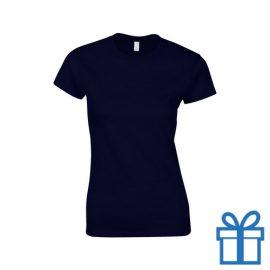 T-shirt dames rond katoen M navy bedrukken