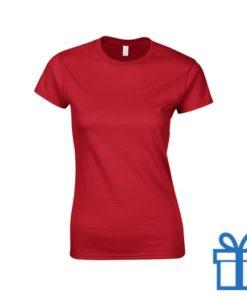 T-shirt dames rond katoen M rood bedrukken