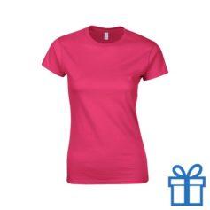 T-shirt dames rond katoen M roze bedrukken