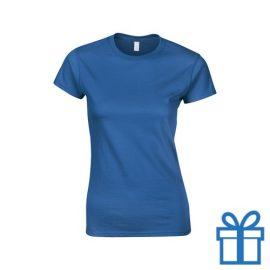 T-shirt dames rond katoen S blauw bedrukken
